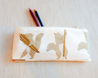 Pencil Case/ Squirrel Gift for Her/ Gift for Mom/ Bff Gift/ Bridesmaids Gift/ Girlfriend Gift/ Make Up Bag/ Coworker Gift/ Christmas Gift