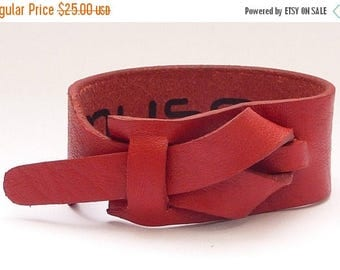 On Sale Red Leather Bracelet by Muse, Free shipping