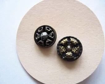 2 Vintage Cut Steel Buttons