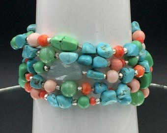 30% SALE Turquoise Cuff Bracelet Colorful Gemstone Jewelry Silver Bracelet Coral Chrysoprase Turquoise Multistrand Cuff Bracelet Bohemian Cu