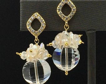 30% SALE Clear Crystal Quartz Keishi Pearl Cluster Bridal Earrings 14kt Gold Filled Wire Wrapped Mystic Quartz Pave CZ Gold Post Earrings