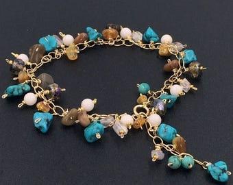 Turquoise Bracelet Dangle Bracelet Handmade Wire Wrap 14kt Gold Fill Colorful Gemstone Bohemian Layering Bracelet Ethiopian Opal Bo
