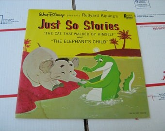 """1964 Walt disney present Rudyard Kipling's just so stories """" the cat that walked by himself """" &  """" the elephant's child """" LP 33-1/3 rpm"""
