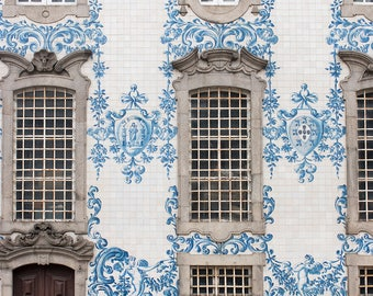 Travel Photography, Blue tiles of Porto, Portugal Photography, Blue and Brown, Porto Church Igreja dos Carmelitas