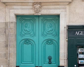 Door 50, Paris Photography, Green Apartment door on The Right Bank, Marais, French Art Prints, Gallery Wall Art, Francophile, Paris Print