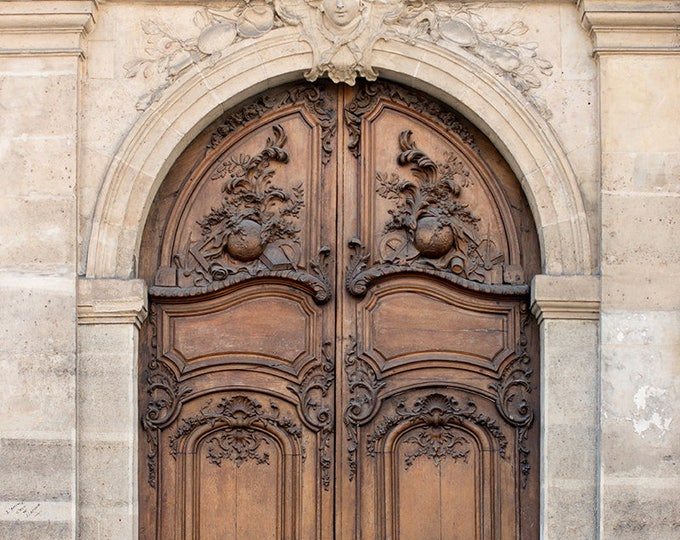 Paris Photography, Brown Apartment door on The Left Bank, St Germain de Près, French Art Prints, Gallery Wall Art, Francophile, Paris Print