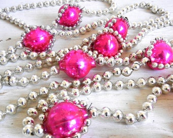 Vintage Christmas Garland | Silver + Pink Glass Bead Garland | Pink Glass Bead Garland | Christmas Tree Decoration