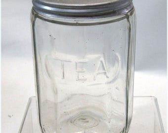 Vintage 1930s Glass TEA Hoosier Jar Paneled Design Also Great For Food Gifts