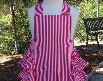 Ruffled Bottom Bubble Romper Sunsuit  in Red and White Stripes for Baby Girls