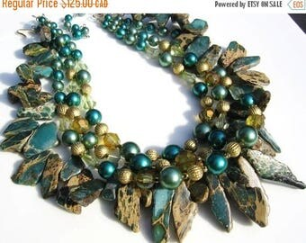 ON SALE African Turquoise and 1950s Vintage Japan Handmade Necklace