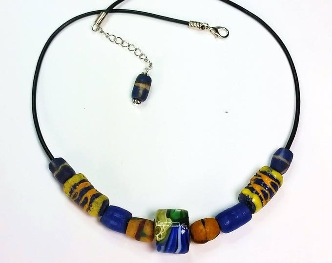 Trade Bead Necklace #3 on Leather Cord with Extender