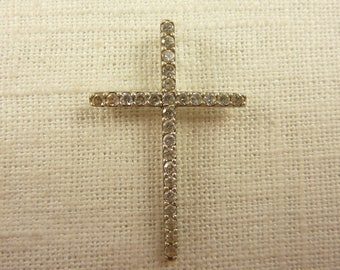 Vintage Sterling and Cubic Zirconia Cross Pendant