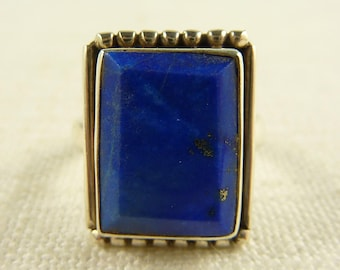 Size 8 Vintage Sterling and Lapis Rectangular Ring