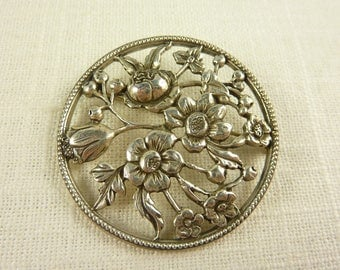 Antique Heavy Sterling Cut Out Floral Vine Brooch