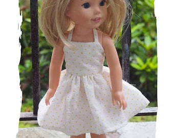 14 inch Doll Clothes  will fit Dolls like  Wellie Wishers - Sundress - Dress - Halter Neckline