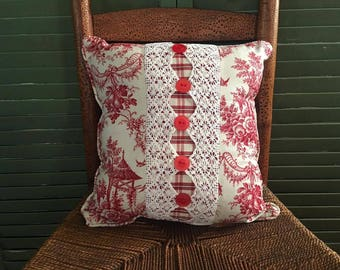 Red Toile, Vintage Lace, Vintage Buttons, Waverly Plaid Decorative Pillow Fully Stuffed