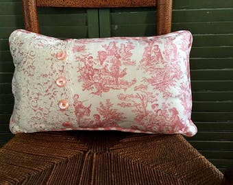 Decorative Lumbar Pillow Vintage Lace, pink Waverly Toile, Vintage Buttons, Pink Check Cotton Back