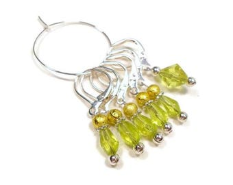 Locking Removable Stitch Markers Crochet Beaded Lime Green Lemon Yellow Row Markers Knitting Supplies DIY Crafts
