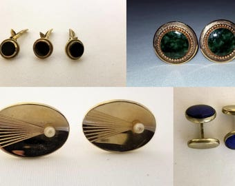 Lot of Vintage Cufflinks and Button Clips Set of 4