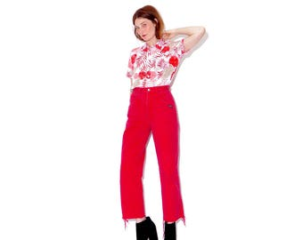 super rare FADED TOMATO RED jeans xs 24 25 waist / colored jeans high waisted jeans cropped jeans frayed hem mom jeans 80s 90s clothing