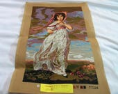 Vintage Needlepoint Canvas, needlepoint tapestry, Pinkie portrait by Thomas Lawrence, Needlepoint Supplies, Large Needlepoint