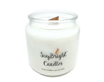 SoyBright™ Natural Soy Wax Apothecary Jar Candle | Wooden Wick | Frosted Birch Juniper Scented | Hand Poured | More Scents Available - 16 oz