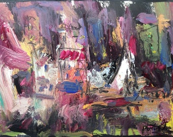 Expressive modern contemporary abstract seaport harbor painting  original acrylic art