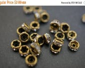 SUMMER SALE Vintage Bronze Greenish Brass on Clear Crystal Rhinestone Rondelle Spacers (Straight Round) - 5mm - 15 pcs