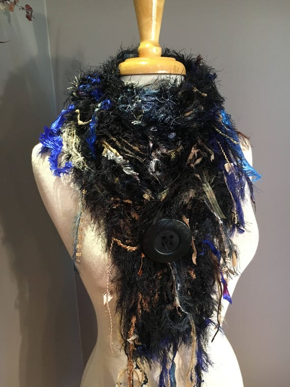 Handmade Knit Fringe Scarf with Button, Dumpster Diva, Black Tan Blue, handmade fur scarf,  Couture, fluffy scarves, boho, gypsy, fur scarf
