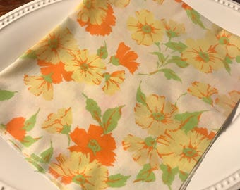 Vintage sheet fat quarter. Orange and yellow floral