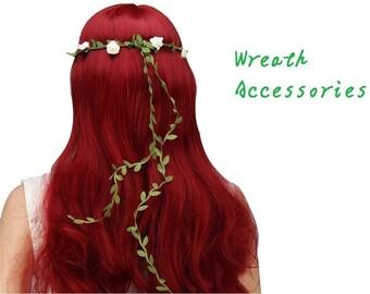 Wedding halo-Wedding Crown-silk green leaf ribbon-Braided silk and hemp twine ribbon by the yard