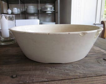 Large antique white ironstone milk pan nappy