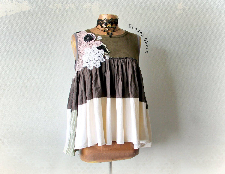 Rustic Clothing Loose Flowy Shirt Shabby Chic Style Boho