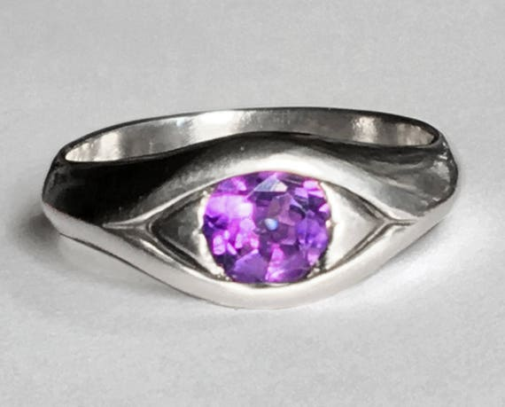 Large Sterling Silver and Amethyst Eye Ring