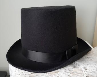 """Black Top Hat - Black Gothic Hat Tophat black Hat """"Leander"""" size +/- 59/61"""
