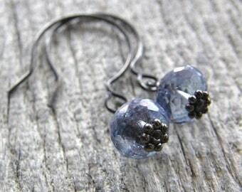 Summer Sale 20% Off Dainty Blue Mystic Quartz Earrings, Quartz Drop Earrings, Blue Jean Earrings, Simple Modern Blue Earrings