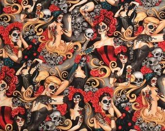 NEW and AMAZING!  Alexander Henry las elegantes Tattoos, Skulls & Roses Premium Cotton Fabric by the yard