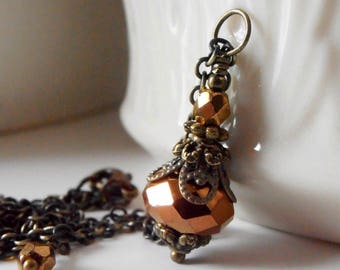 Brown Crystal Pendant Necklace, Vintage Style Bridesmaid Necklace, Beaded Metallic Crystal Pendant, Antiqued Bronze Metal, Fall Weddings