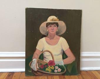 Lady Painting Large Vintage Painting Flower Basket White Gloves Folk Art Home Decor