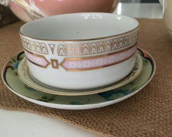 Chatillon Porcelain Small Serving Bowl White Pink Gold Vintage France