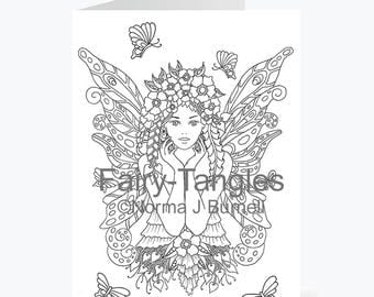 Printable Fairy Tangles Greeting Cards to Color by Norma J Burnell 5x7 Flower Fairy Butterflies Card for Coloring Card Making Adult Coloring