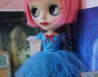 BLYTHE DRESS -  Sweetheart Candy, Flirty Ballerina Tutu Hand-Dyed Silk Dress - Vintage Blue