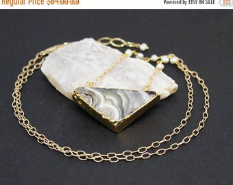 Christmas In July Sale - Agate and Pearl Gemstone . Sterling Silver Vermeil Pendant Necklace . Marbled Gray, Brown, White . N16089