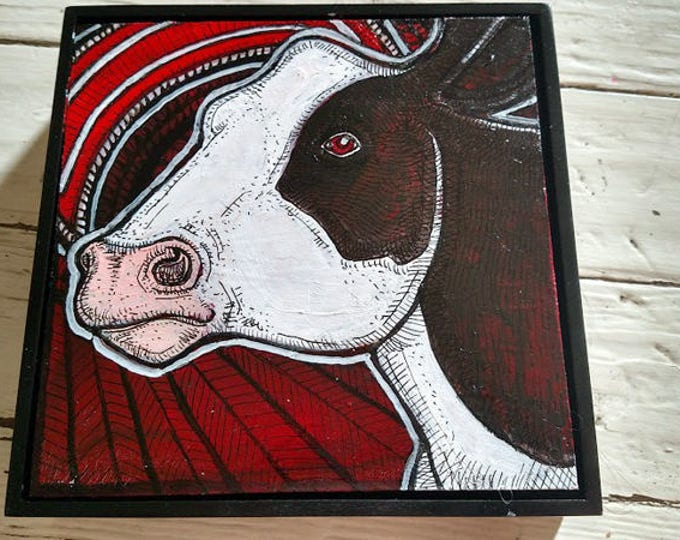 Original Cow and Moon Art Painting by Lynnette Shelley