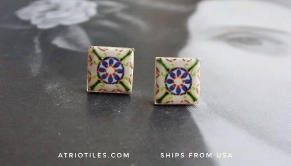 Stud Post Earrings Tile Portugal Azulejo Green  (see photo of actual Facade) Brass or Silver Plated - GIFT BOX INCLUDED - Ovar 231