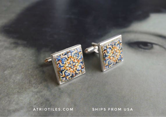 925 SILVER CUFF LINKS Portugal Tile Azulejo Antique 17th Century - from Évora Pousada  (see photos) Unisex _ gift box included 1135