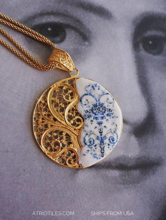 Silver Necklace FILIGREE Portugal  Blue Antique Tile 24k. Gold Bath Viuva Lamego Factory, Lisbon - Founded in 1849  Majolica Porcelain Delft