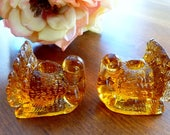 Vintage Mini Amber Glass Turkey Candleholders, Set 2, Pressed Glass, Thanksgiving Table