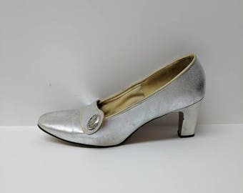 Silver Charm Step Heels Size 5 1/2 M