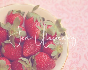 Sweet Strawberries Photography Print, fruit, kitchen, food, still life